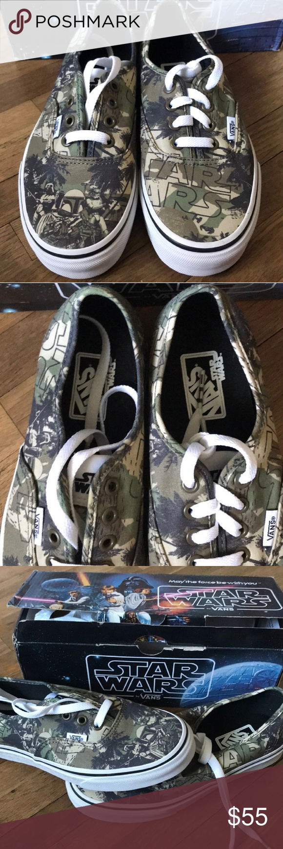64263101a2 Spotted while shopping on Poshmark  Star Wars Boba Fett Vans Shoes 6.5  Womens Camo!  poshmark  fashion  shopping  style  Vans  Shoes