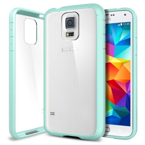 Galaxy S5 Case, Spigen® [AIR CUSHION] [+Screen Shield] Samsung Galaxy S5 Case Bumper ULTRA HYBRID Series [Mint] Clear Back Panel Protective Bumper Case with 4-Point Rear Guard + Air Cushion Technology Corners + Full HD Japanese Screen Protector for Galaxy S5 / Galaxy SV / Galaxy S V (2014) - ECO-Friendly Packaging - Mint (SGP10846) - http://www.rekomande.com/galaxy-s5-case-spigen-air-cushion-screen-shield-samsung-galaxy-s5-case-bumper-ultra-hybrid-series-mint-clear-back-pane