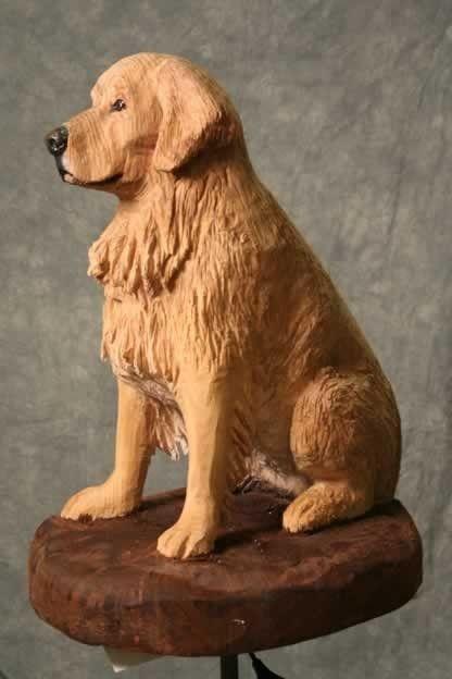 Custom Made Life Size Dog Portrait Wood Carving