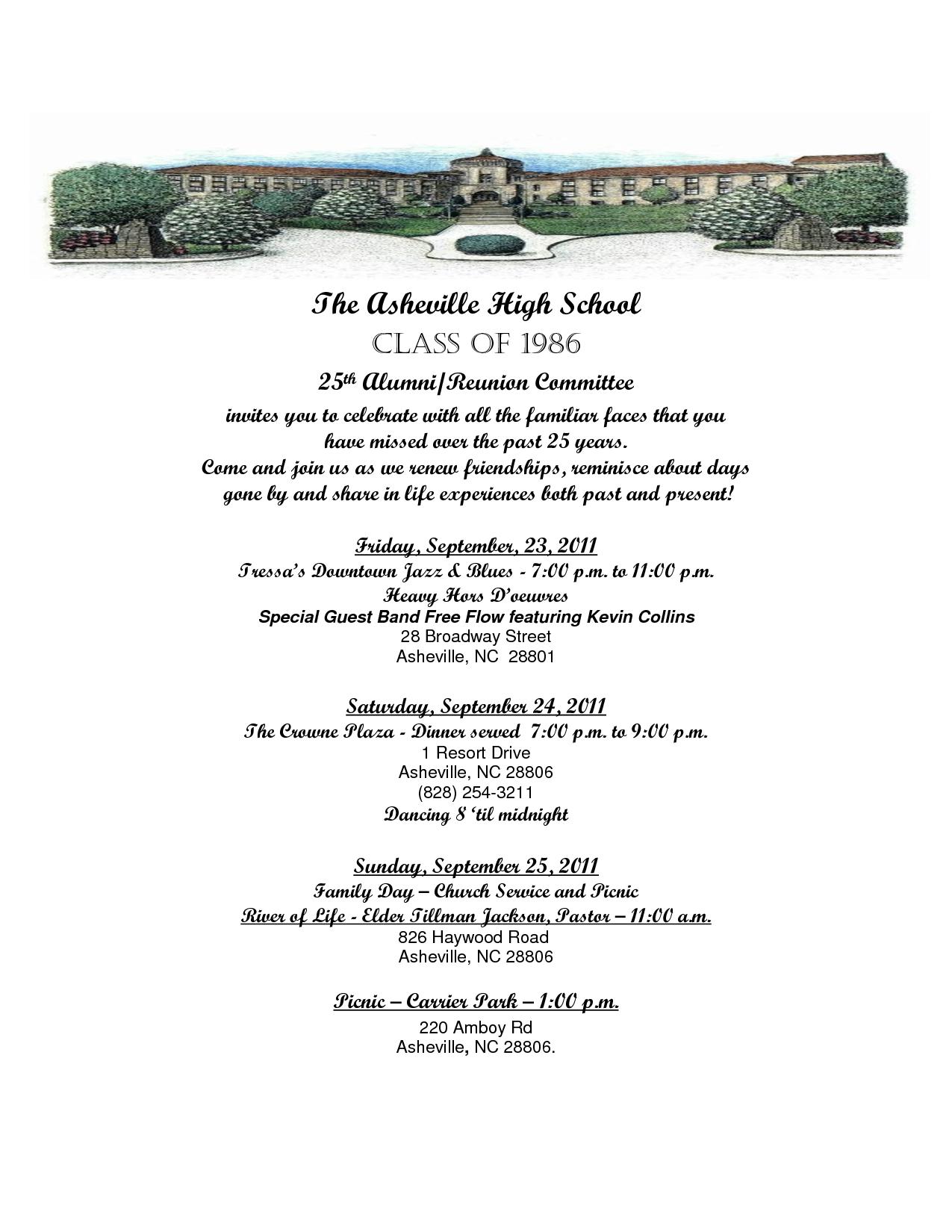 High School Reunion Invitation Sample Class Reunion Ideas