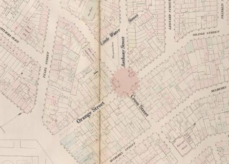 1853 map of Five Points intersection showing original street names