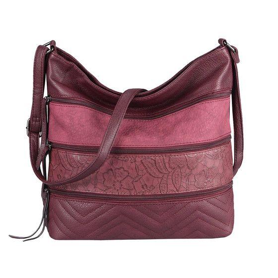 Photo of OBC women bag flowers shopper tote bag handbag shoulder bag shoulder bag bucket bag leather look hobo crossbody bordo 31x32x12 cm