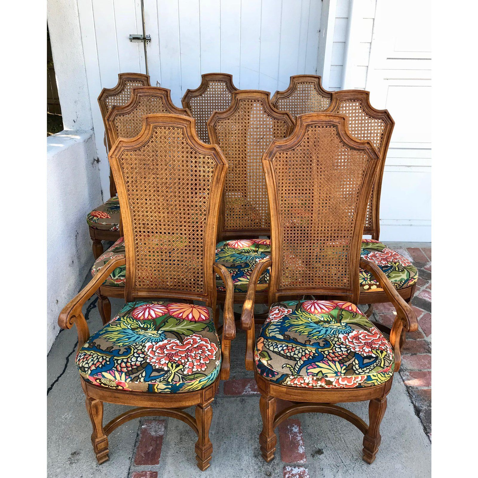 1970s Vintage Cane Back Dining Chairs Set Of 8 With Schumacher Fabric Chiang Mai Pattern Cane Dining Chairs Chair Dining Chair Set