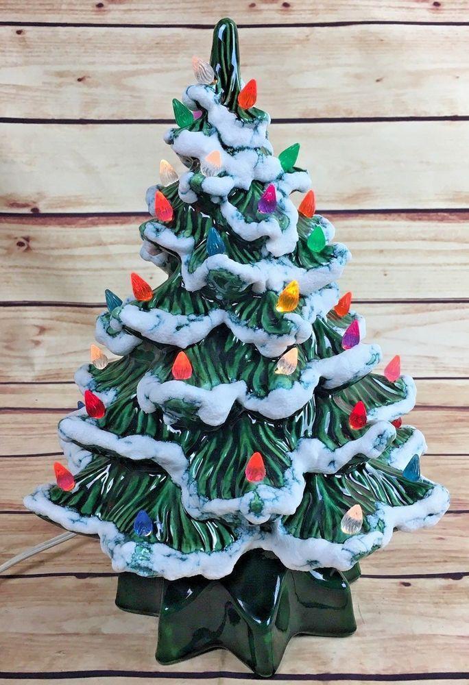 vintage ceramic christmas tree lighted 14 handmade mold green flocked 1a - 14 Christmas Tree