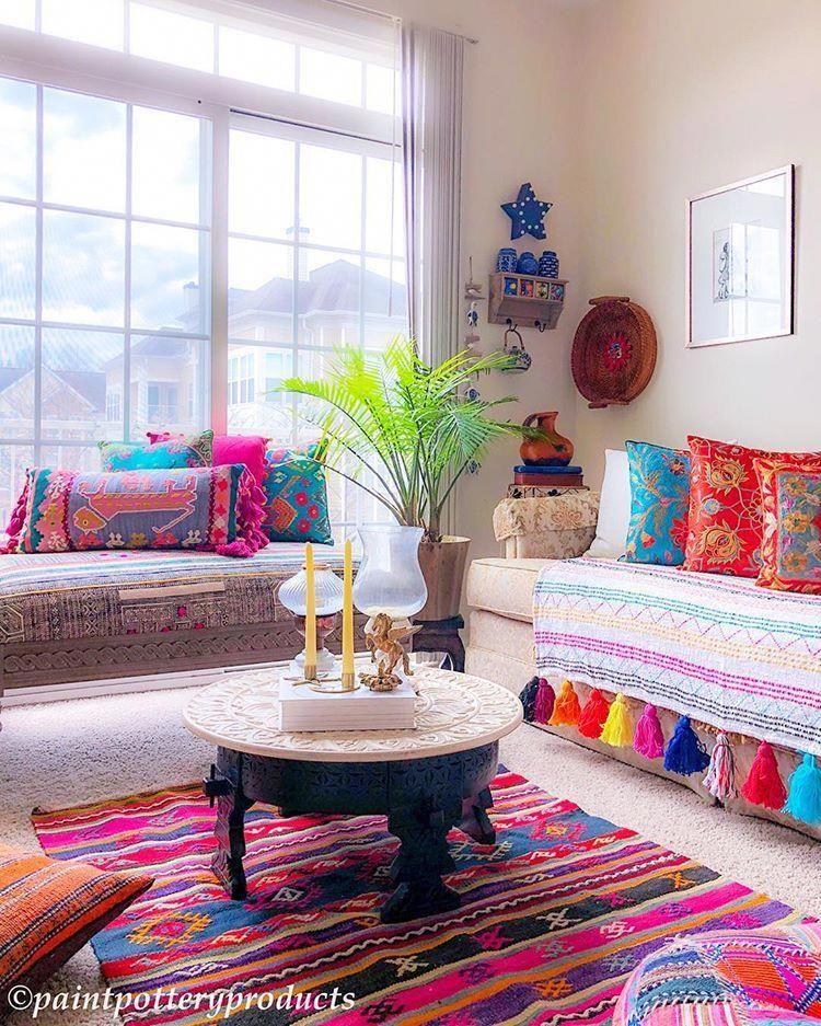 Pin by snehal on bhartiya baithak   Bohemian living room ...