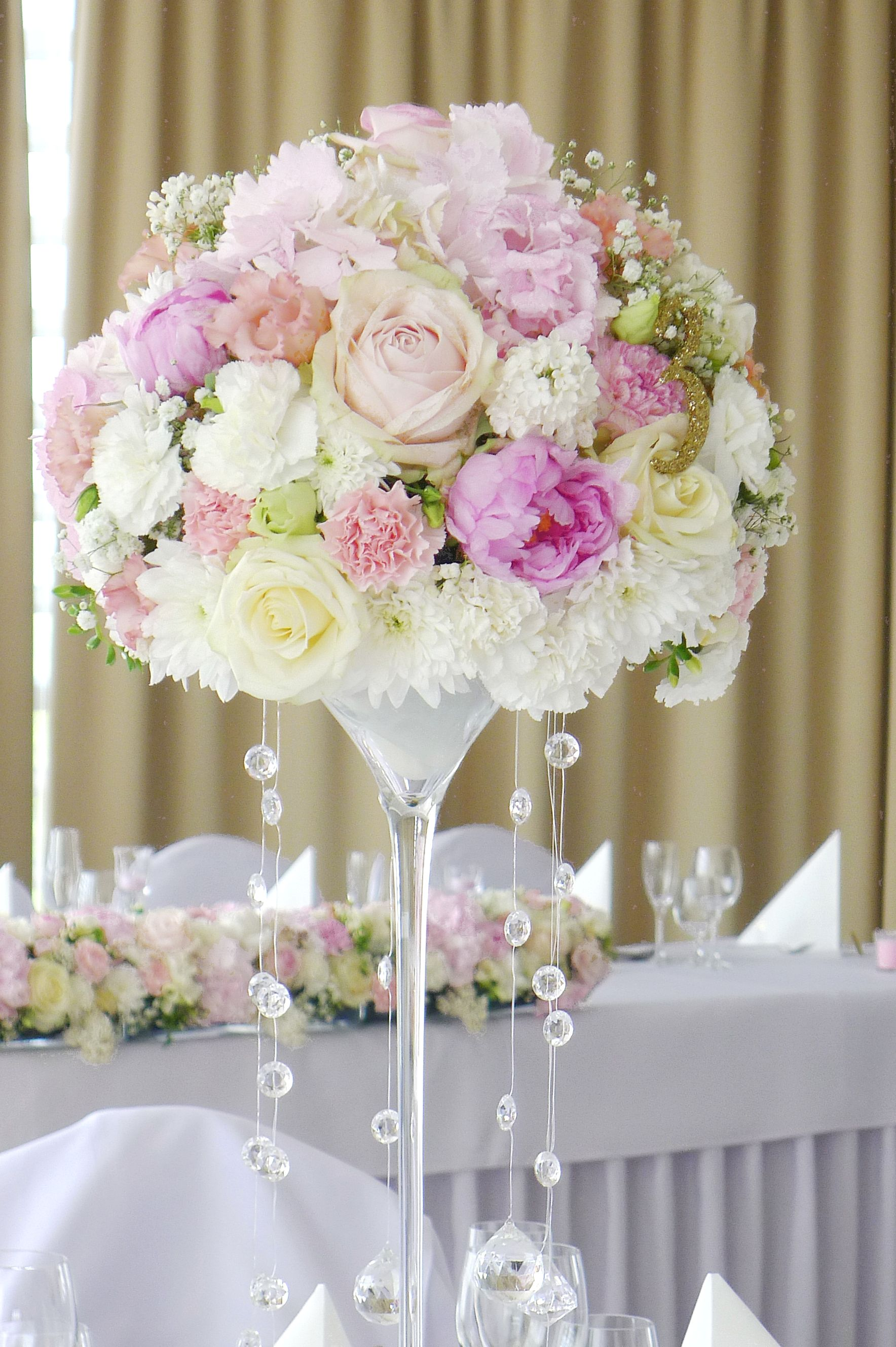 Tall Floral Centerpiece In Peach And Pink With Hanging Crystals