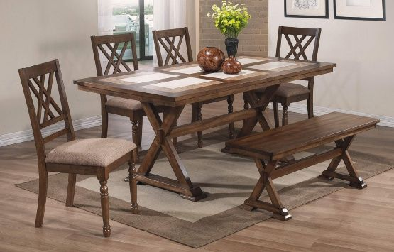 Winners Only Florence 6 Piece X Leg Dining Table Set