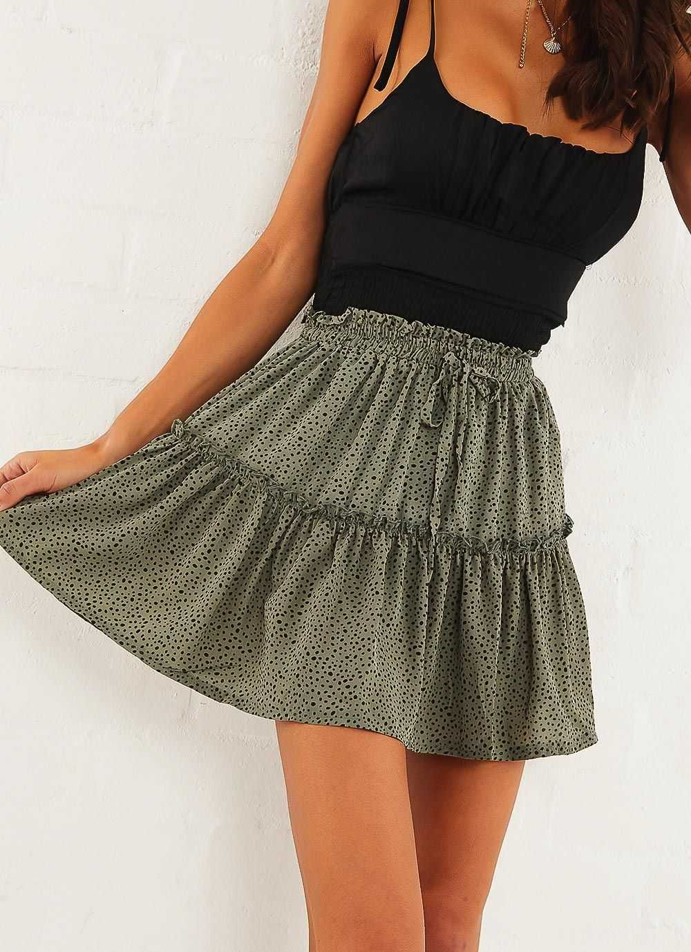 Classic Tie Front High Waisted Elastic Waist Ruffle Skirt