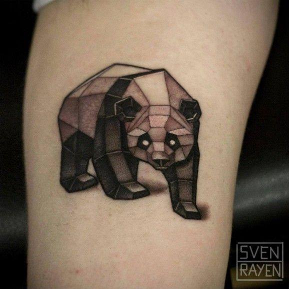 Tatouage D Un Panda En Origami Tatouage Animaux