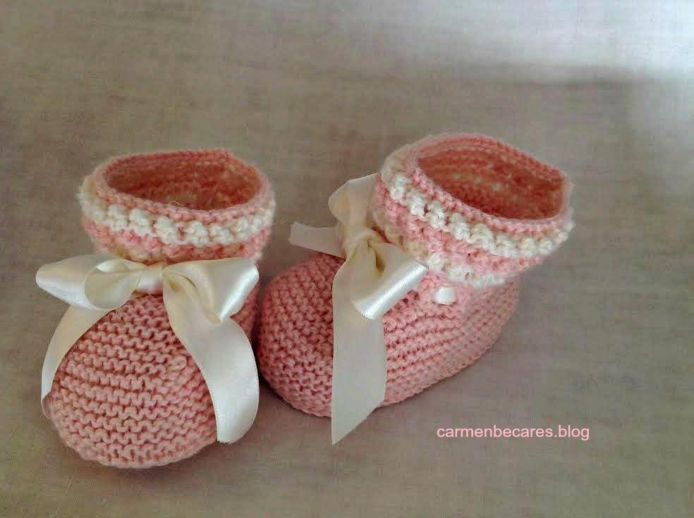 d30bb98fe Patucos de lana para bebe. ( tejido dos agujas) carmenbecares.blogspot.com