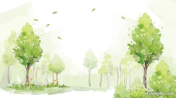 Fresh Watercolor Forest Psd Layered Material With Images