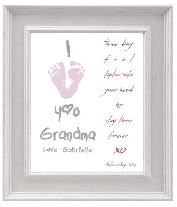 Personalized Mother S Day Gift For Grandma I Love You Baby Footprint Art Diy Keepsake Print Printable Pdf