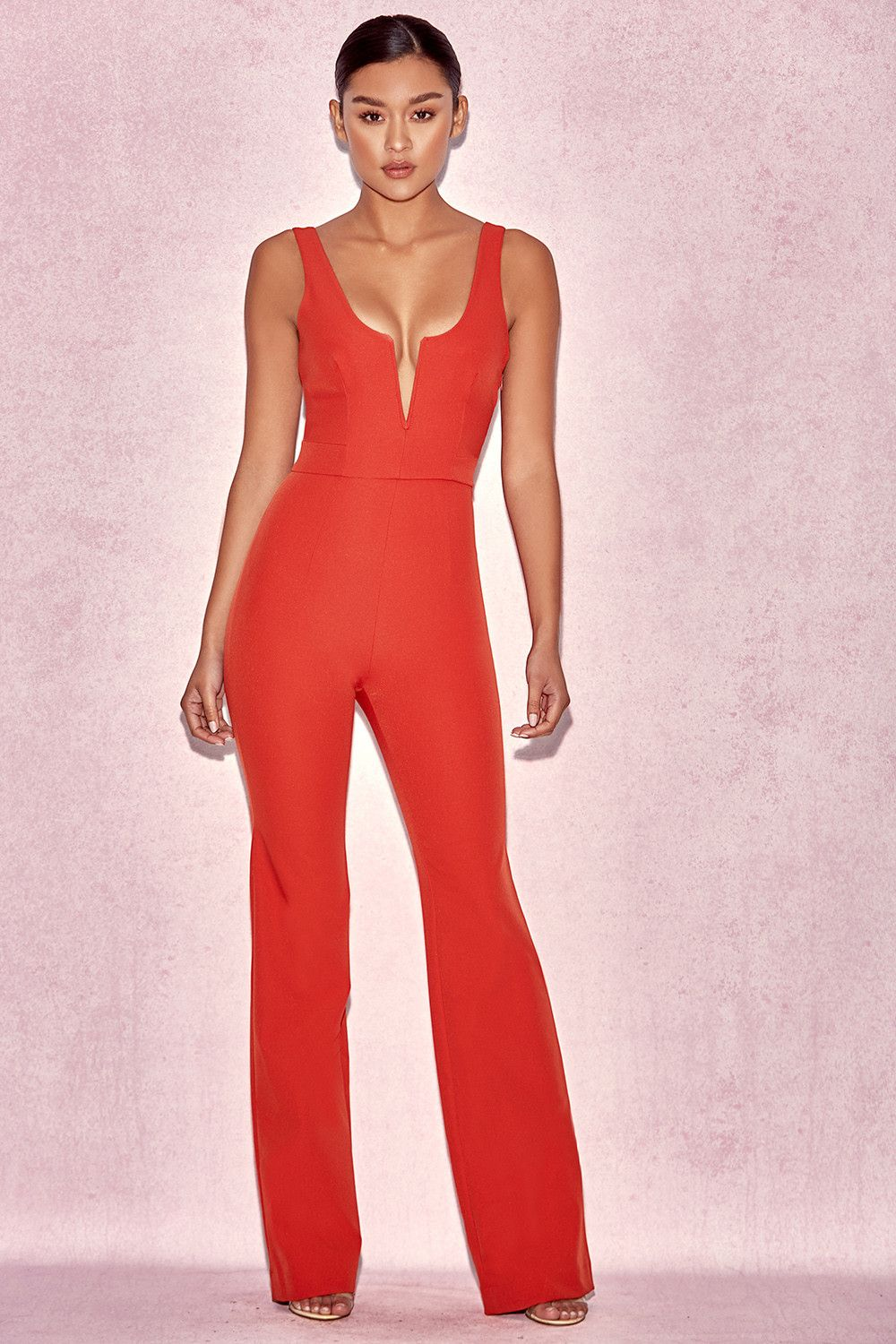 dfa1405fdf Clothing   Jumpsuits    Natalja  Red V Plunge Jumpsuit