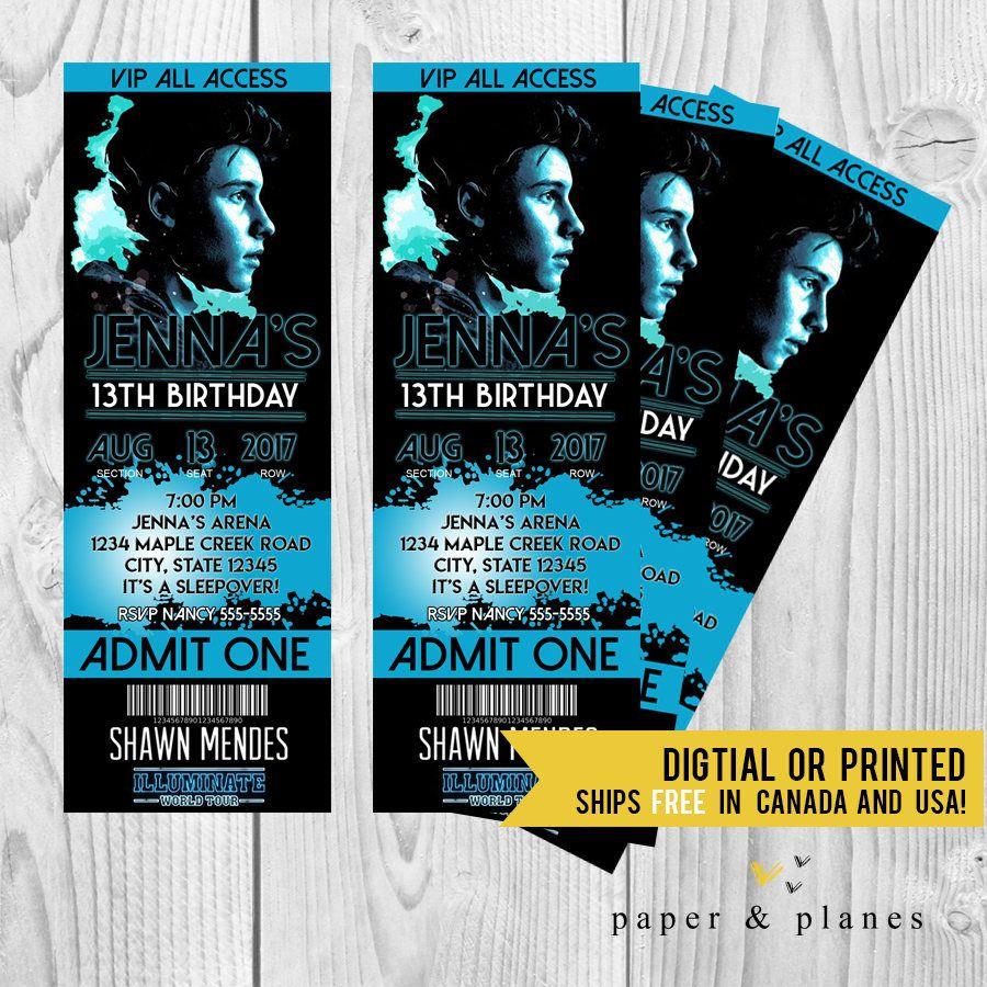 shawn mendes printable or printed birthday invitation ticket