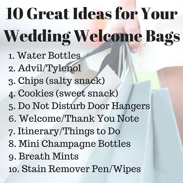 10 Great Ideas for Your Wedding Welcome Bags | Wedding Goodies ...