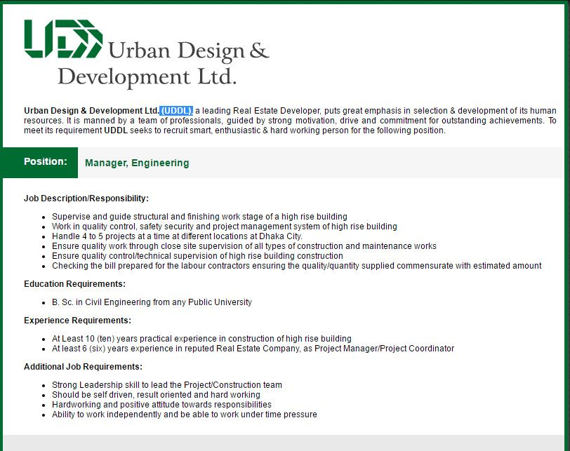 Urban Design & Development Ltd Manager - Engineering Job Circular