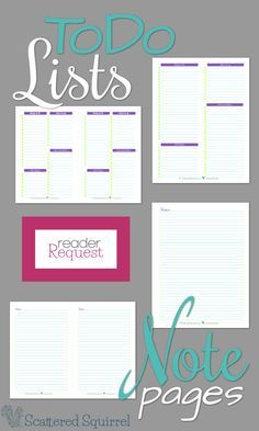 Reader Request - To Do Lists and Note Pages are two of the request I've been getting a lot of lately, so I thought I would create and share a couple printable notes pages and to do lists.