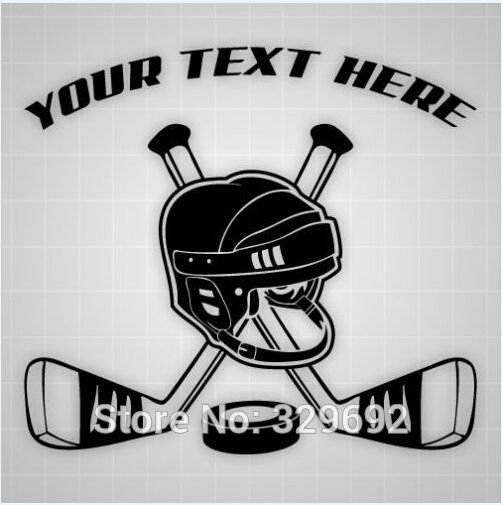 Hockey Wall Car Decal Personalized Sticker Custom Hockey Sticks Helmet Vinyl Wall Stickers Stickers Child Custom Hockey Stick Hockey Decals Vinyl Wall Stickers