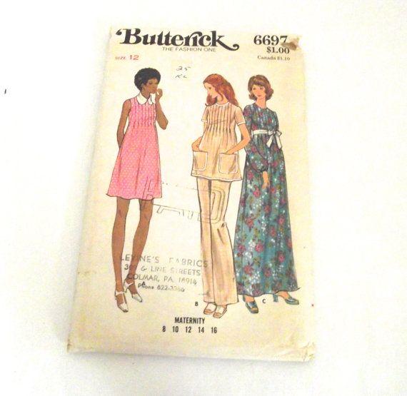 Vintage Maternity Sewing Pattern for Dress, Tunic | Beautiful ...
