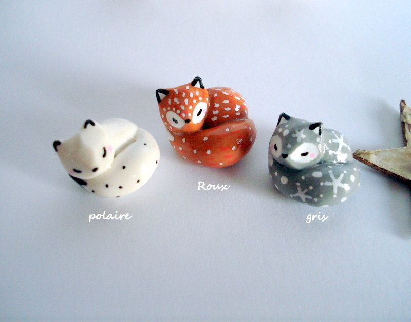 Amulet My Little white, grey or ginger fox  oMamaWolf -miniature handmade sculpture in polymer clay- lucky charm by oMamaWolf on Etsy https://www.etsy.com/listing/254580183/amulet-my-little-white-grey-or-ginger
