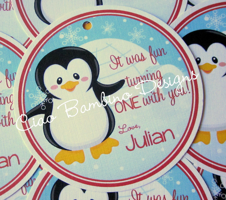 Winter ONEderland Penguin Favor Tags - Powder Blue and Red. $6.00, via Etsy.