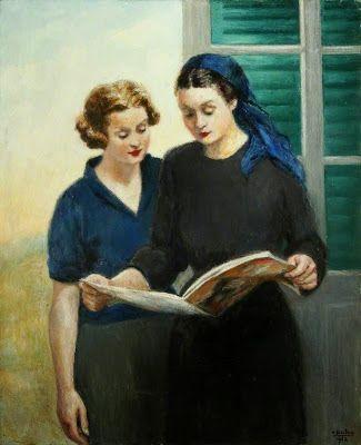 Two ladies reading, 1952 by Georges van Houten born May 1, 1888 in Antwerp, Belgium died June 23, 1964 (76) in Rome, Italy