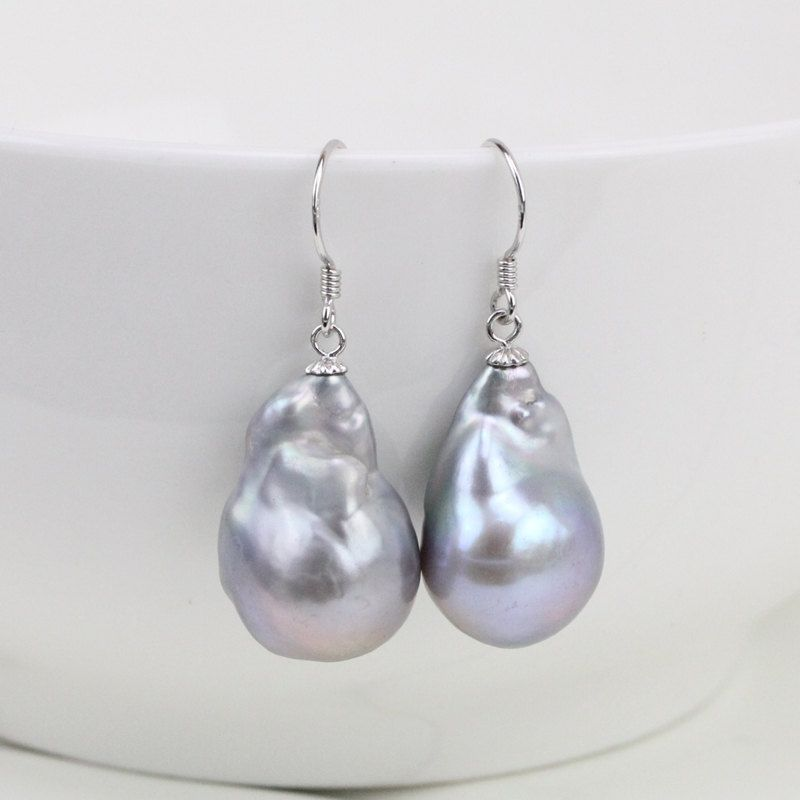 f6b9e4d6a661b Silver grey baroque pearl earrings,big flameball pearl earrings ...