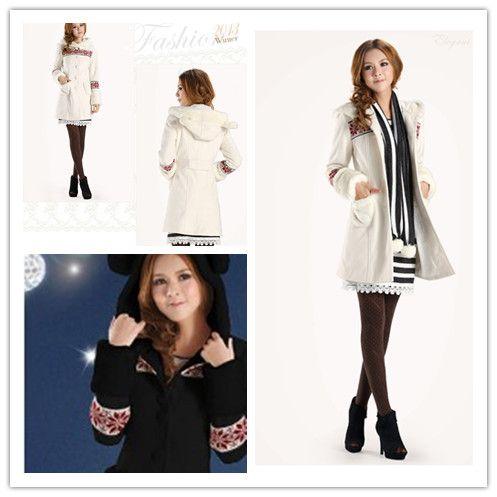 white, bear ears, winter wool ,faux fur coat, warm, unique, elegant final clearance, GHL0579, YRB, YRBFASHION, YRBSTYLE, UK, USA, EUROPE FAS...