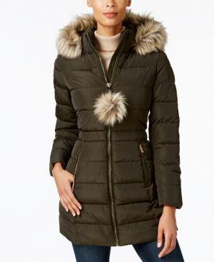 INC Faux-Fur-Trim Puffer Coat, Created for Macyu0027s - Green XXL