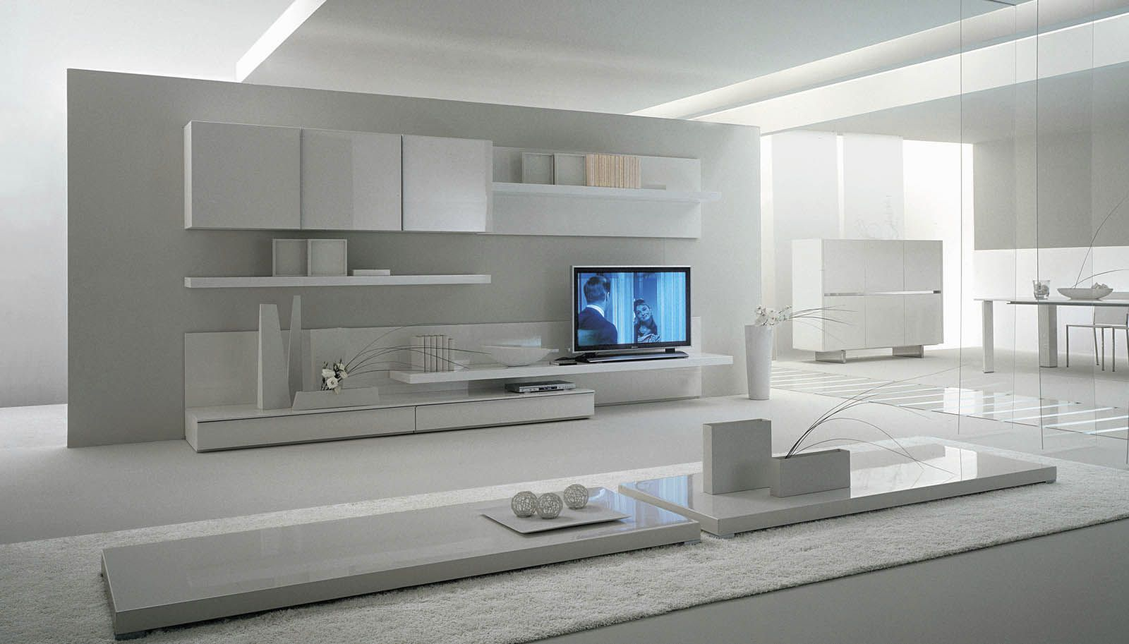 Contemporary lacquered tv wall units with white theme in for Modern living room shelving units