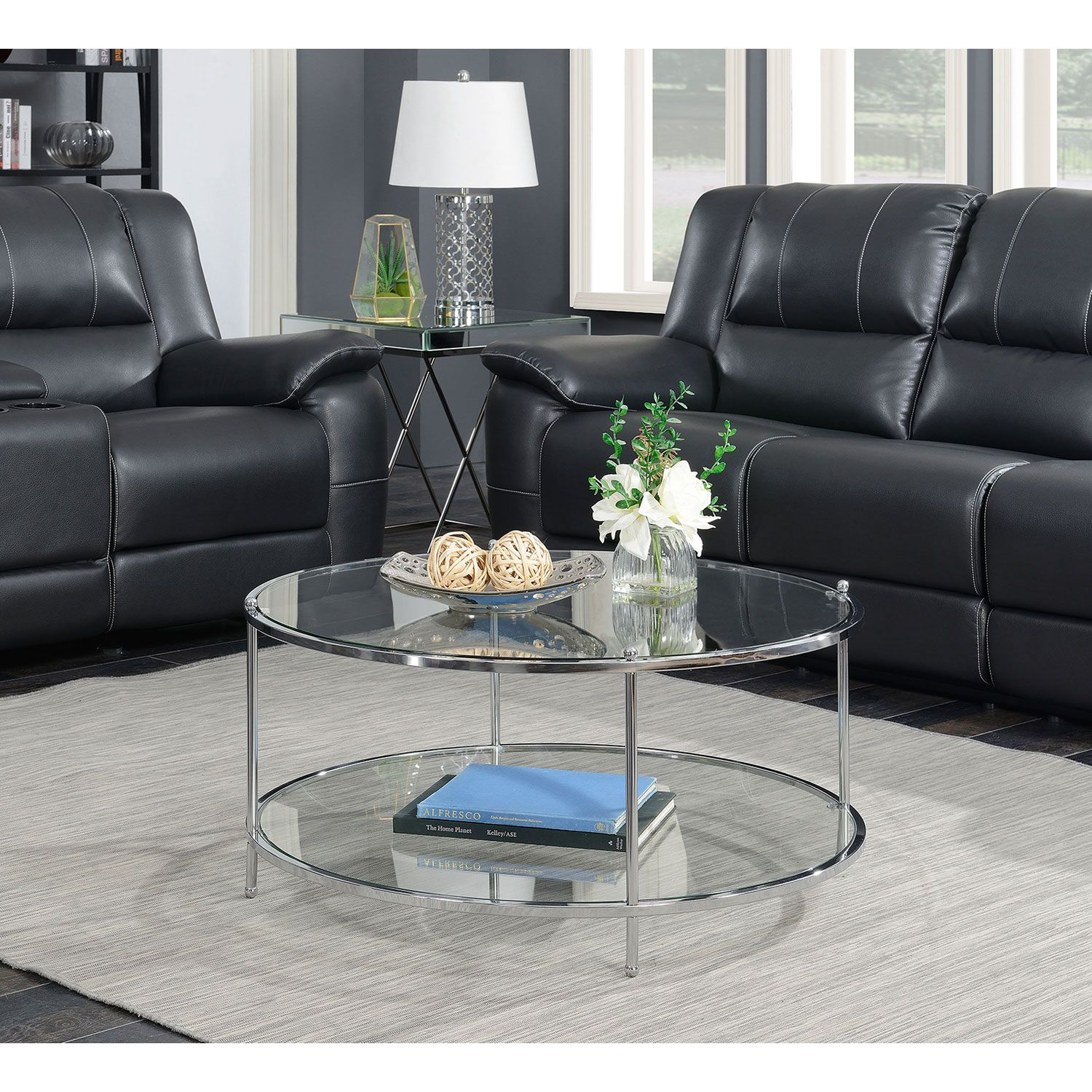 Convenience Concepts Royal Crest 2 Tier Round Glass Coffee Table In Clear Glass And Chrome Frame 134036 Bellacor In 2021 Round Glass Coffee Table Glass Coffee Table Decor Coffee Table [ 1500 x 1500 Pixel ]