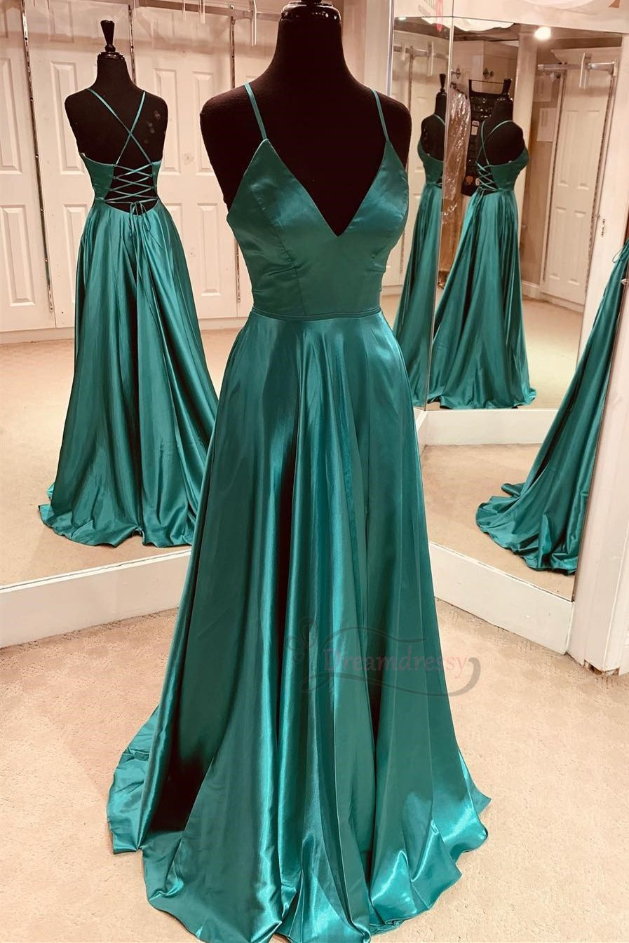 Simple Green Long Prom Dress with Lace Up Back