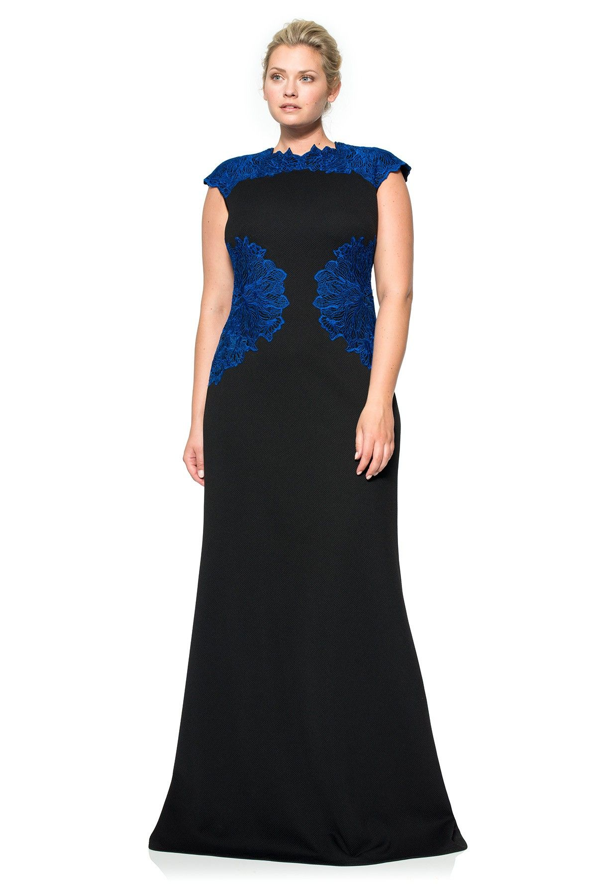 Perforated Neoprene and Embroidered Lace Gown - PLUS SIZE ...