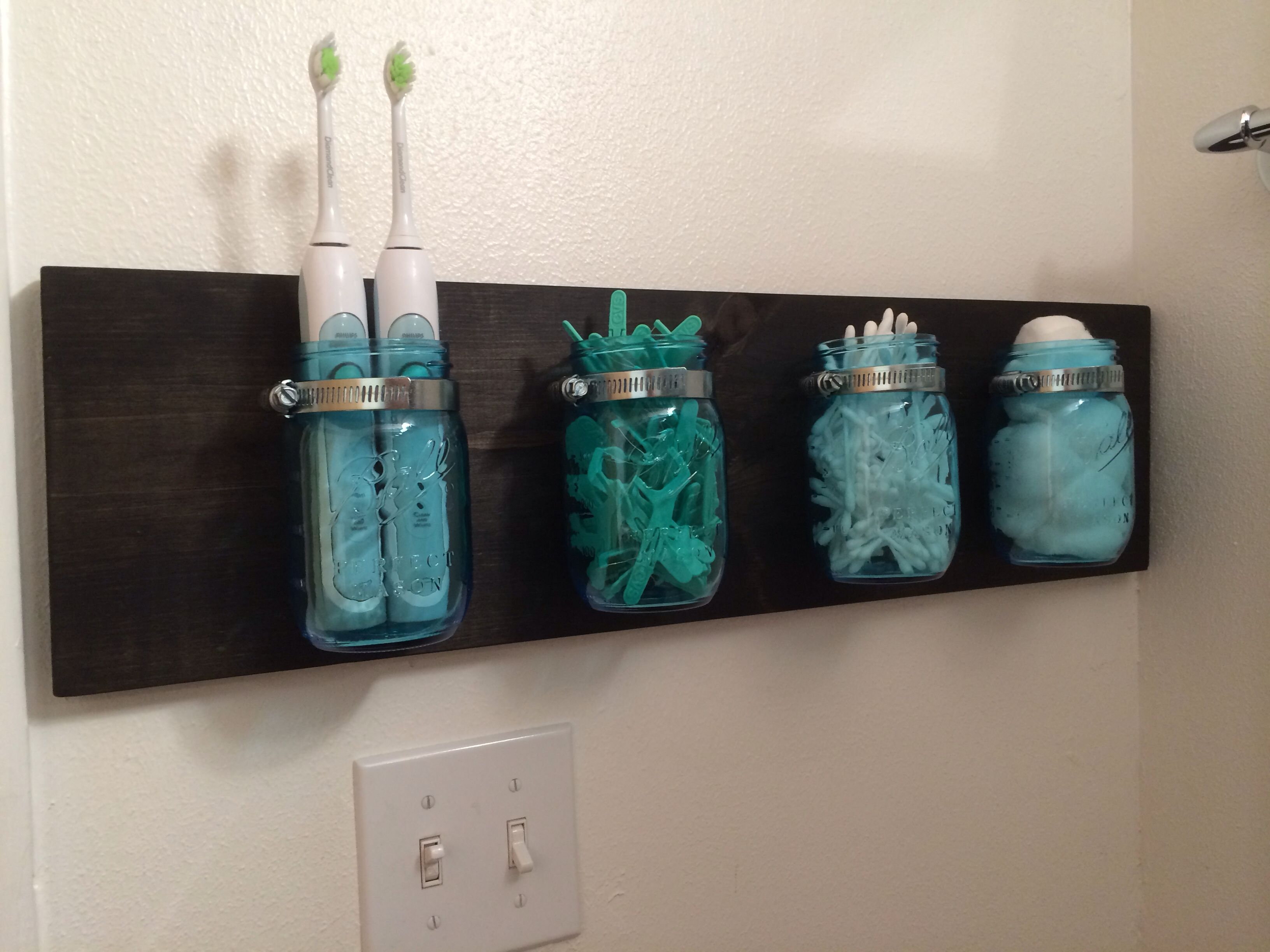 mason jar holder for the bathroom create home. Black Bedroom Furniture Sets. Home Design Ideas