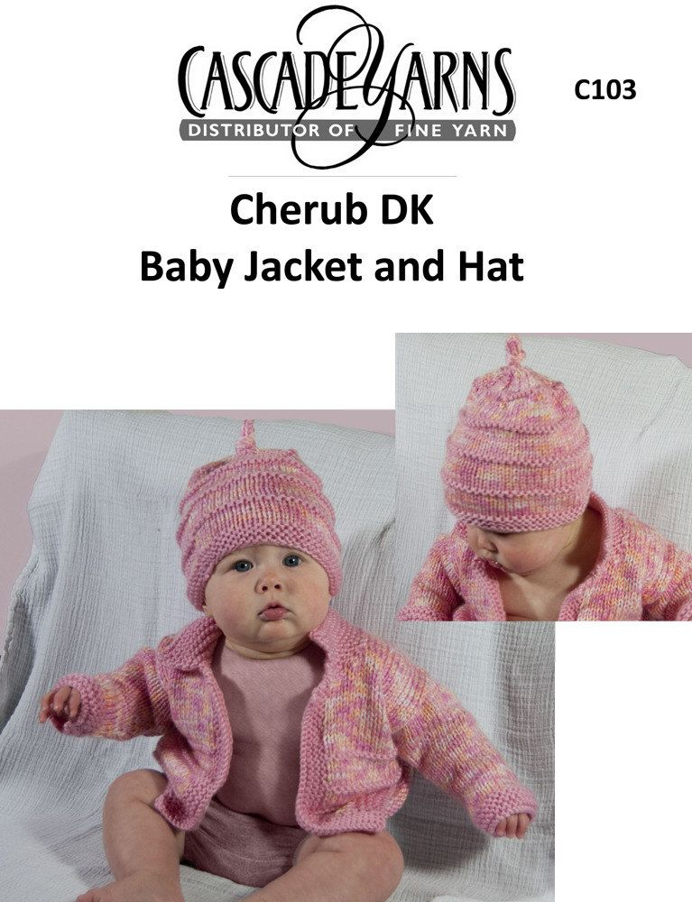 Baby Jacket and Hat in Cascade Cherub DK - C103 | Knitting ...