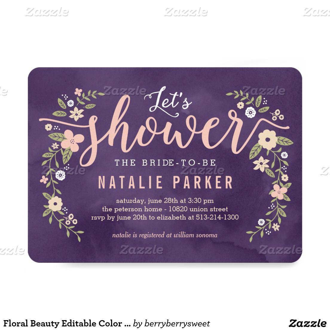 Floral beauty editable color bridal shower invite bridal shower floral beauty editable color bridal shower invite 5 x 7 invitation card filmwisefo