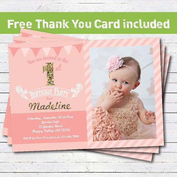 Baby Girl First 1st Birthday Invitation Pink Gold Glitter Number Photo Card With Free T
