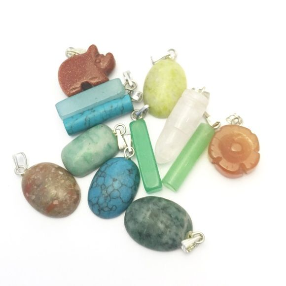 Pack Of 12: Variety Of Gemstone Pendants Pack Of 8: Variety of GEMSTONE pendants   No substitutions. Some of the GEMSTONESIn This Pack are Chrysophase, Aquamarine, Turquoise, Rose Quartz, Goldstone and 6 MORE as shown in the pic.   Per Piece retails at 13$- 25$  This Bundle is 60% Off Listing Price, More than a Buy One Take One deal so you'll enough room for retail margin.   Each item will be individually and nicely packaged and ready for retail.   I would say, pick the pieces you like and…