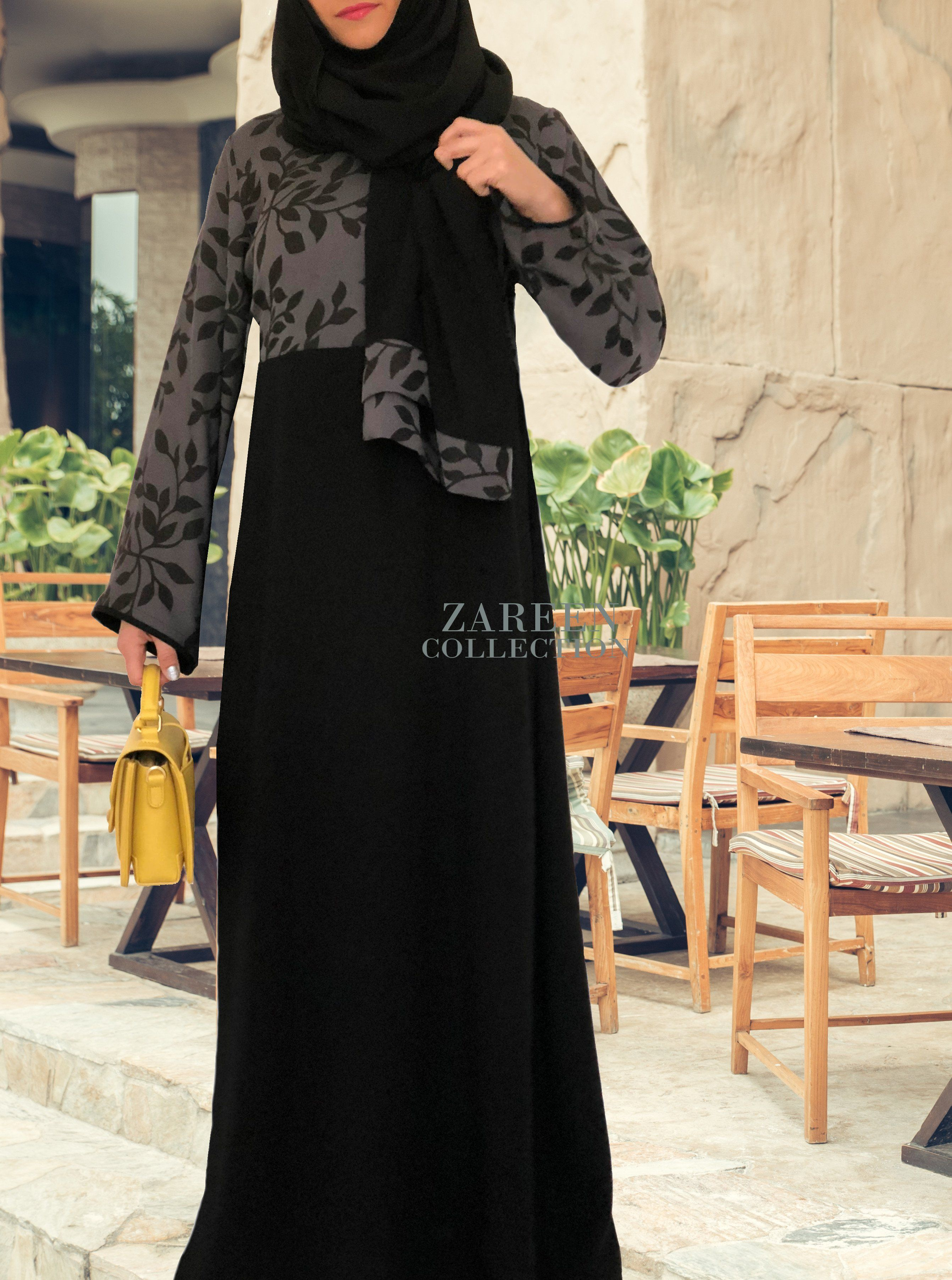 2946aa1072f Leyah Embroidered Abaya in Black – Zareen Collection