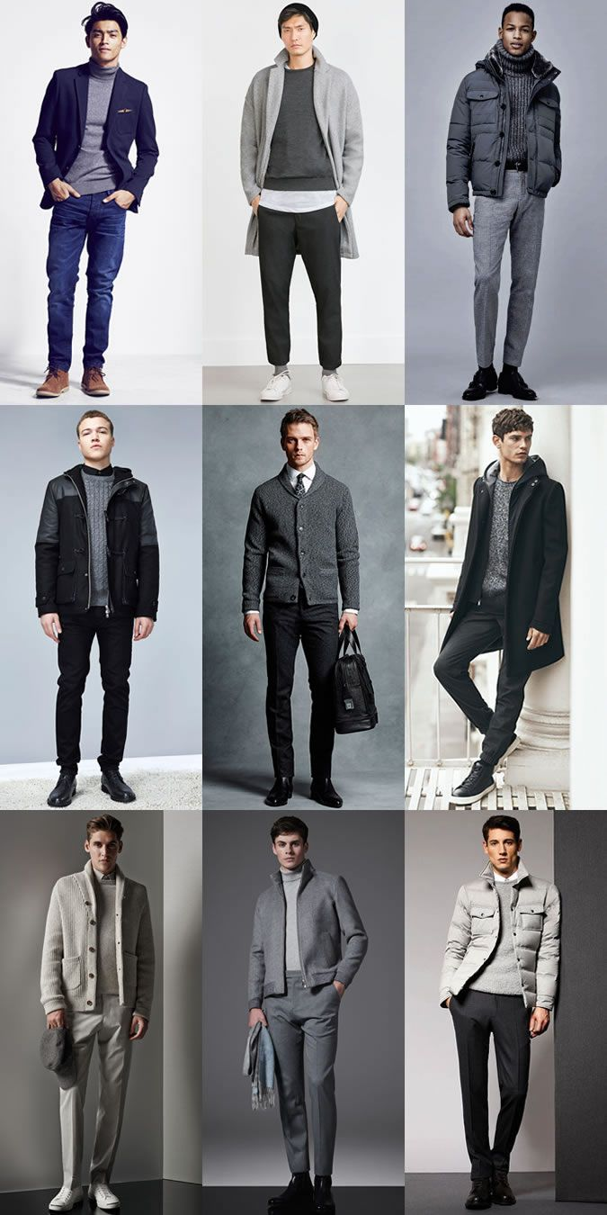 3647c2c1ca Men's Grey Knitwear Outfit Inspiration Lookbook | Just Fashion ...