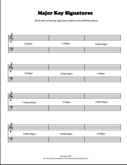 Key-signature worksheet | Music theory worksheets, Teaching ...