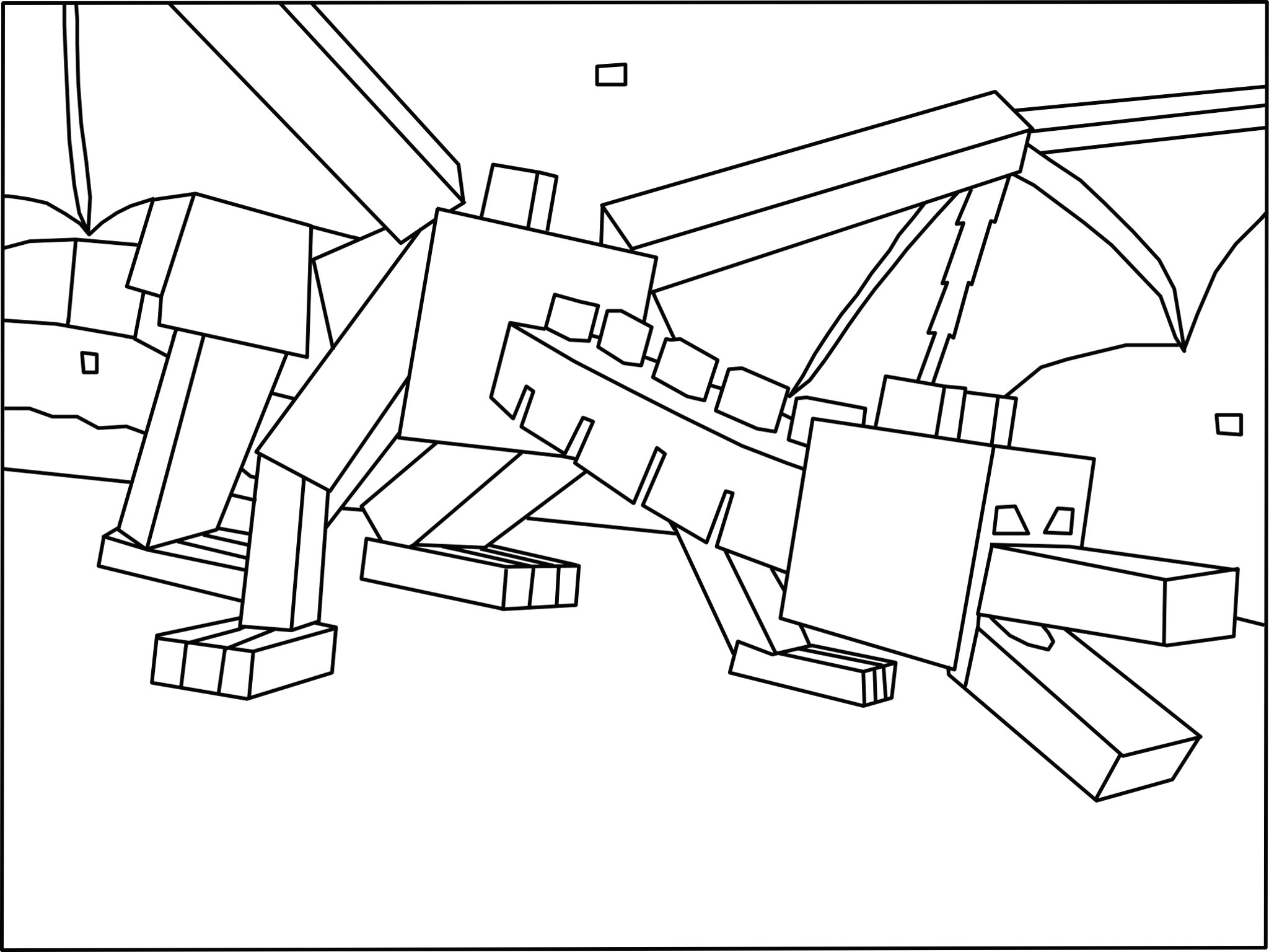 Minecraft Ender Dragon Coloring Page