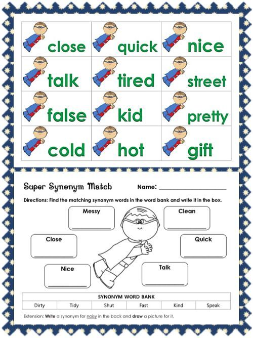 Synonym Worksheets For 1st Grade Synonyms Worksheets Projects To