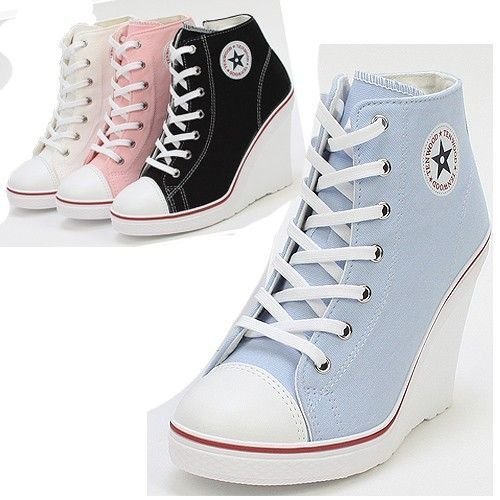 958a764ac404 Platform Wedge Heels Sneakers Ankle Boots High Top Women s Girls Lace Zip  Canvas with  3 from JDzigner www.jdzigner.com