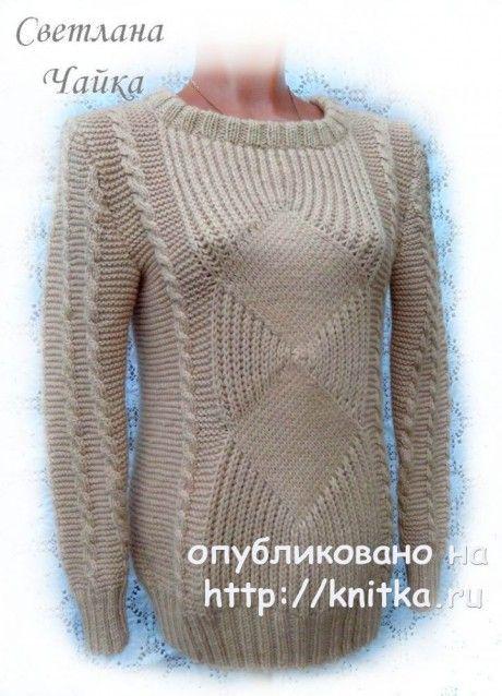 Вязаные свитера спицами женские 191