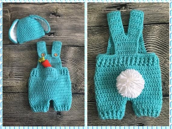 Photo of Newborn Baby Boy Crochet Easter Bunny overalls and floppy ears hat. Newborn romper photo prop. Baby bunny outfit with stuffed carrot!
