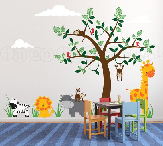 Best Safari Jungle Animals And Tree Wall Decal With Monkeys Giraffe Lion Hippo Zebra And Birds 400 x 300