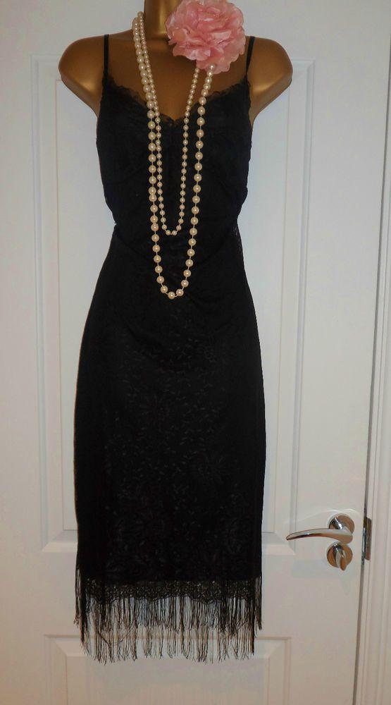 ebbbaadca4f Kookai 1920s Style Lace Black Fringe Tassel Flapper Charleston Dress Size  12 in Clothes