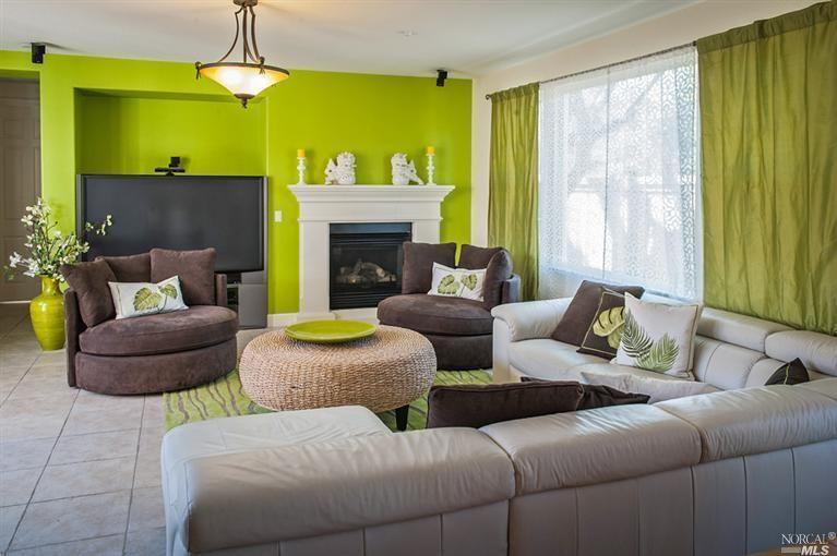 Bright Green Accent Wall Home Design Color