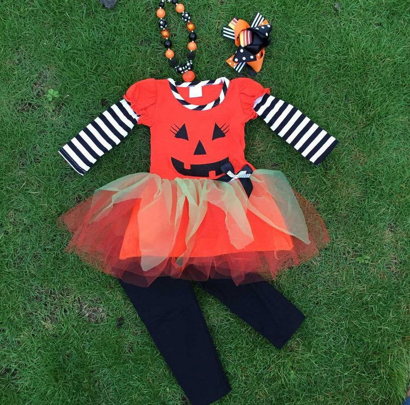 Girls Halloween Jack O Lantern Pumpkin Tutu Outfit Set Necklace 2T 3T 4 5 6 7  #MyCutiePye #EverydayHoliday